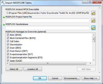 Import MODFLOW Tables