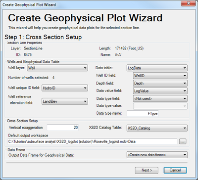 Log Plot Wizard Step 1